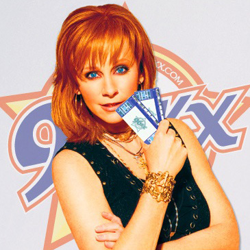 Radio Promotion - For a country station in 2008, what could be better than Reba McEntire holding a pair of station-branded tickets in front of the station logo?